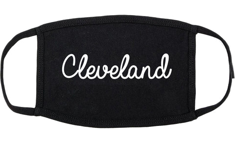 Cleveland Mississippi MS Script Cotton Face Mask Black