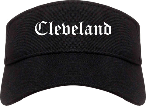 Cleveland Mississippi MS Old English Mens Visor Cap Hat Black