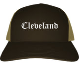 Cleveland Texas TX Old English Mens Trucker Hat Cap Brown