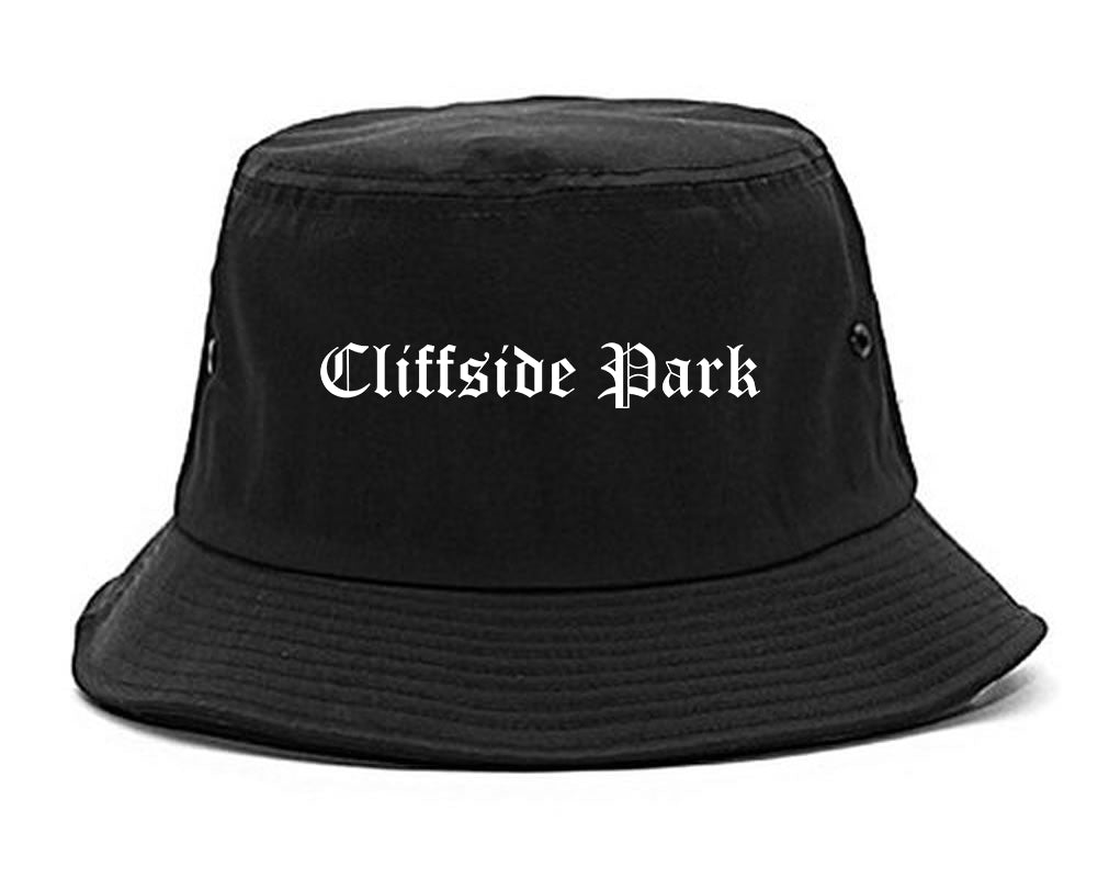 Cliffside Park New Jersey NJ Old English Mens Bucket Hat Black