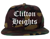 Clifton Heights Pennsylvania PA Old English Mens Snapback Hat Army Camo