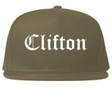 Clifton New Jersey NJ Old English Mens Snapback Hat Grey
