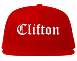 Clifton New Jersey NJ Old English Mens Snapback Hat Red