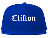 Clifton New Jersey NJ Old English Mens Snapback Hat Royal Blue