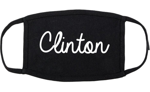 Clinton Illinois IL Script Cotton Face Mask Black