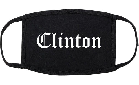 Clinton Mississippi MS Old English Cotton Face Mask Black