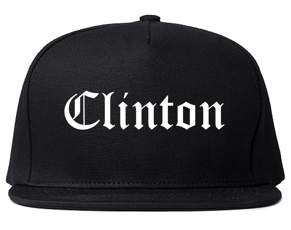Clinton Mississippi MS Old English Mens Snapback Hat Black