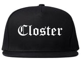 Closter New Jersey NJ Old English Mens Snapback Hat Black