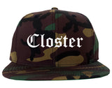 Closter New Jersey NJ Old English Mens Snapback Hat Army Camo