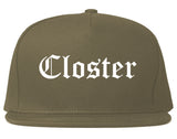 Closter New Jersey NJ Old English Mens Snapback Hat Grey