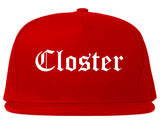 Closter New Jersey NJ Old English Mens Snapback Hat Red