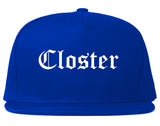 Closter New Jersey NJ Old English Mens Snapback Hat Royal Blue