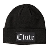 Clute Texas TX Old English Mens Knit Beanie Hat Cap Black