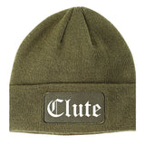 Clute Texas TX Old English Mens Knit Beanie Hat Cap Olive Green