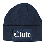 Clute Texas TX Old English Mens Knit Beanie Hat Cap Navy Blue