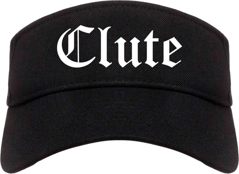 Clute Texas TX Old English Mens Visor Cap Hat Black