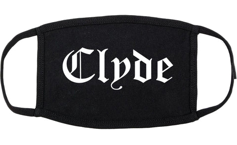 Clyde Ohio OH Old English Cotton Face Mask Black