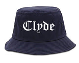 Clyde Ohio OH Old English Mens Bucket Hat Navy Blue