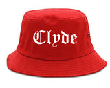 Clyde Ohio OH Old English Mens Bucket Hat Red