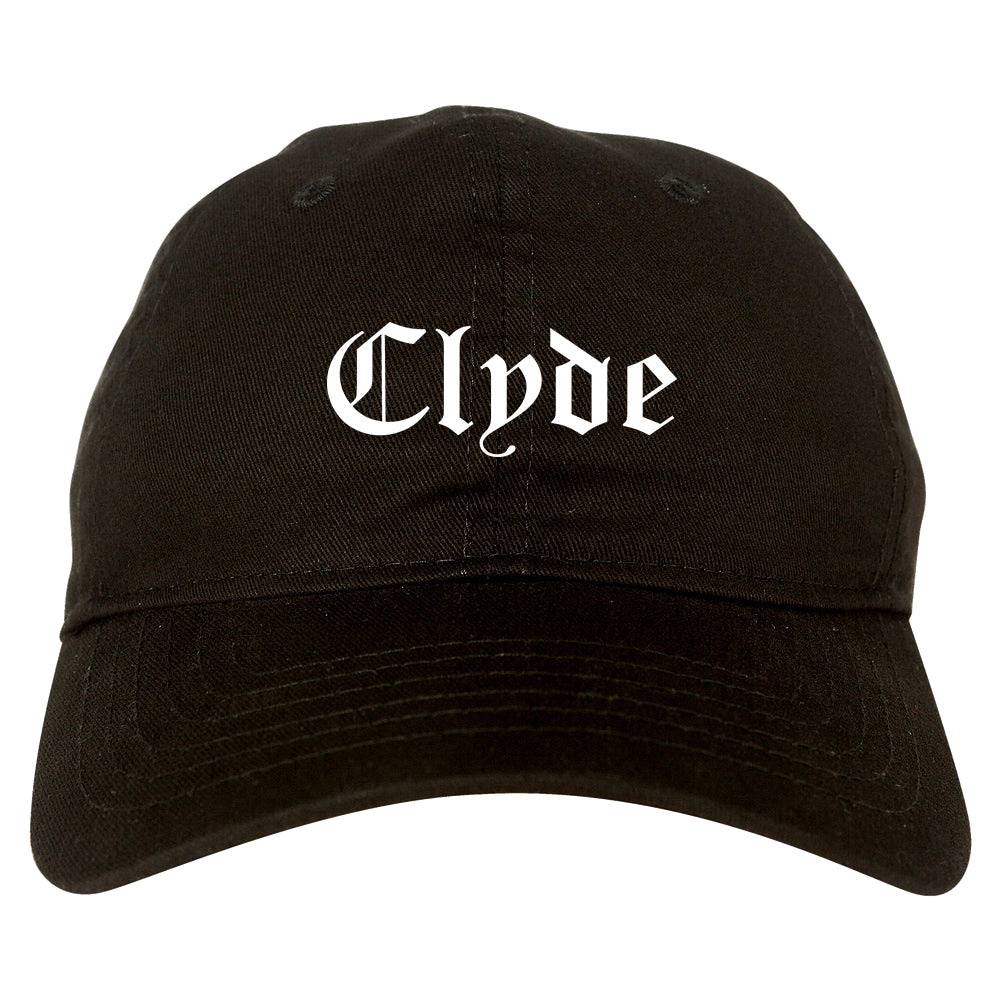 Clyde Ohio OH Old English Mens Dad Hat Baseball Cap Black