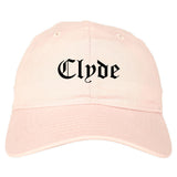 Clyde Ohio OH Old English Mens Dad Hat Baseball Cap Pink