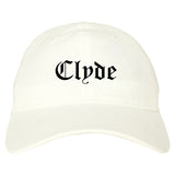 Clyde Ohio OH Old English Mens Dad Hat Baseball Cap White