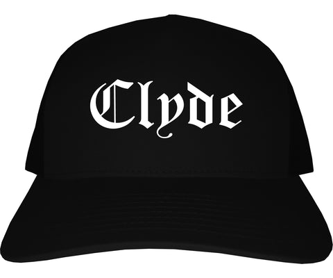 Clyde Ohio OH Old English Mens Trucker Hat Cap Black