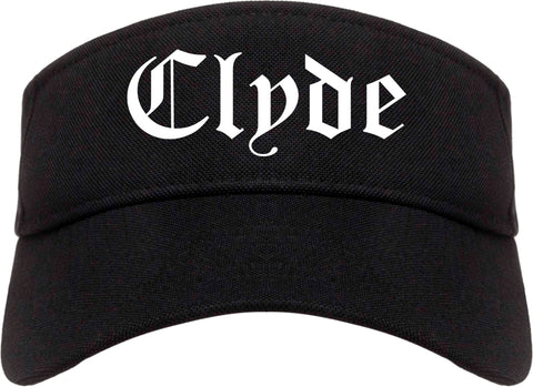 Clyde Ohio OH Old English Mens Visor Cap Hat Black