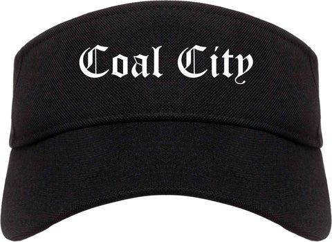 Coal City Illinois IL Old English Mens Visor Cap Hat Black