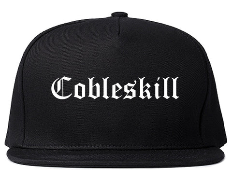 Cobleskill New York NY Old English Mens Snapback Hat Black