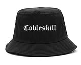 Cobleskill New York NY Old English Mens Bucket Hat Black