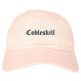 Cobleskill New York NY Old English Mens Dad Hat Baseball Cap Pink