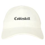 Cobleskill New York NY Old English Mens Dad Hat Baseball Cap White
