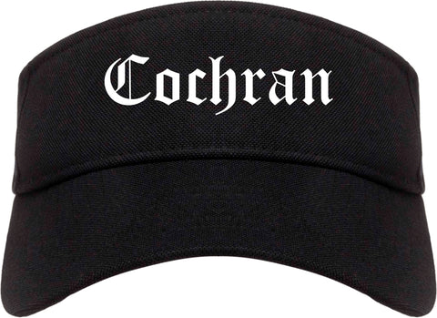 Cochran Georgia GA Old English Mens Visor Cap Hat Black
