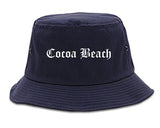 Cocoa Beach Florida FL Old English Mens Bucket Hat Navy Blue