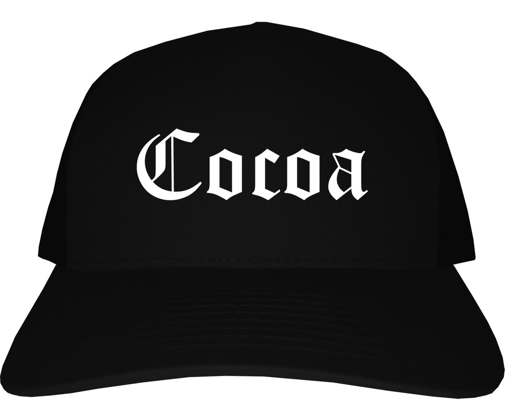 Cocoa Florida FL Old English Mens Trucker Hat Cap Black
