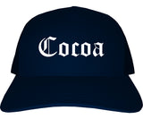 Cocoa Florida FL Old English Mens Trucker Hat Cap Navy Blue
