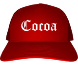 Cocoa Florida FL Old English Mens Trucker Hat Cap Red
