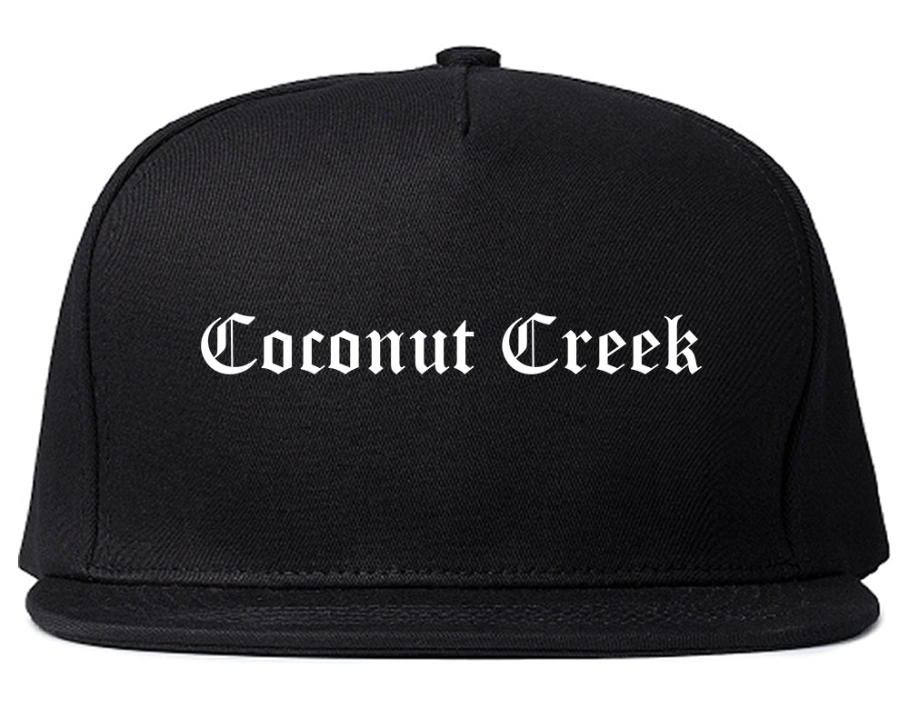 Coconut Creek Florida FL Old English Mens Snapback Hat Black