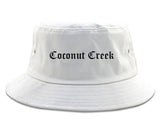 Coconut Creek Florida FL Old English Mens Bucket Hat White