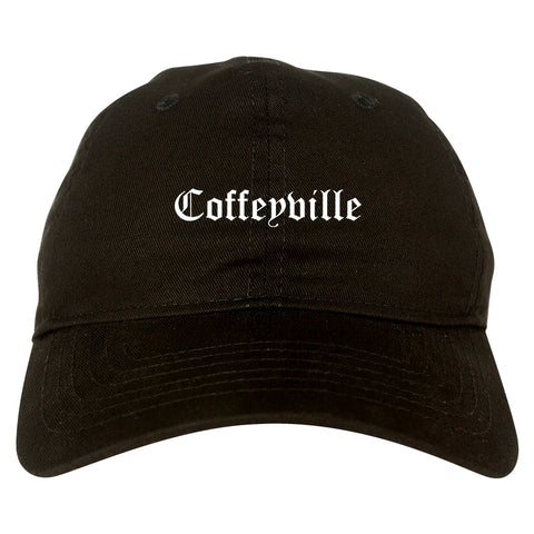 Coffeyville Kansas KS Old English Mens Dad Hat Baseball Cap Black
