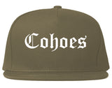 Cohoes New York NY Old English Mens Snapback Hat Grey
