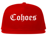 Cohoes New York NY Old English Mens Snapback Hat Red