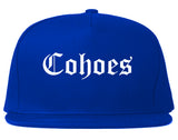 Cohoes New York NY Old English Mens Snapback Hat Royal Blue