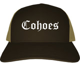 Cohoes New York NY Old English Mens Trucker Hat Cap Brown