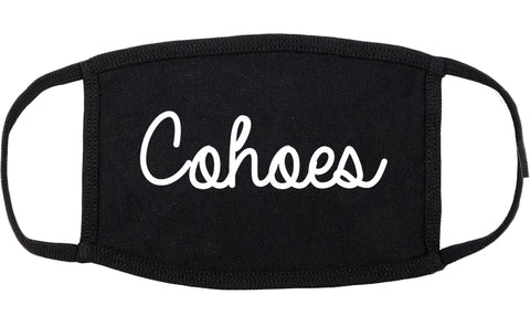 Cohoes New York NY Script Cotton Face Mask Black