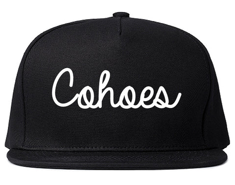 Cohoes New York NY Script Mens Snapback Hat Black