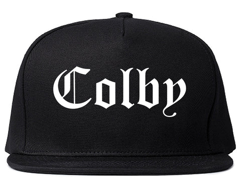 Colby Kansas KS Old English Mens Snapback Hat Black