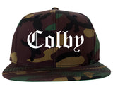 Colby Kansas KS Old English Mens Snapback Hat Army Camo