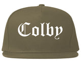 Colby Kansas KS Old English Mens Snapback Hat Grey
